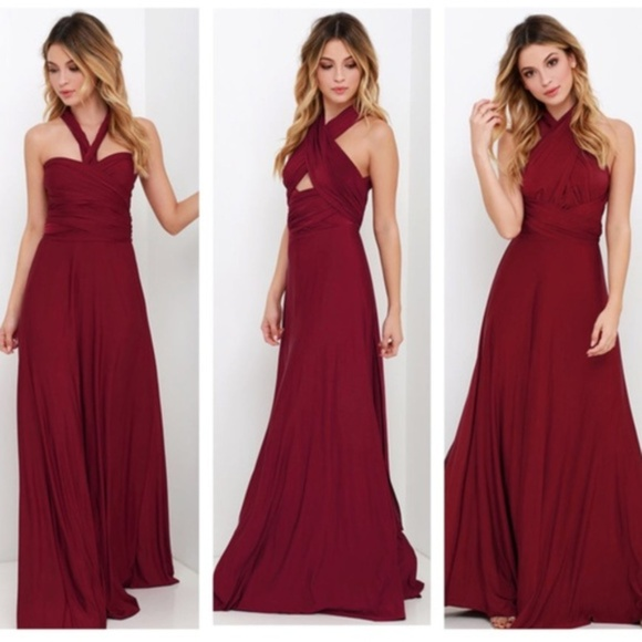 fb3b4c0183 Lulu s Dresses   Skirts - Lulus Convertible Burgundy Maxi Dress
